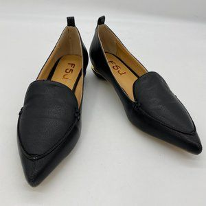 FSJ Black Pointy Toe Low Heel Loafers for Women